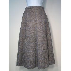 Burberrys Wool Skirt Classic Midi Lined Tuck Pts